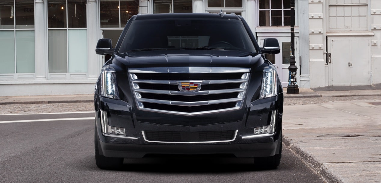 Front side exterior profile of the 2019 Cadillac Escalade full-size luxury SUV.