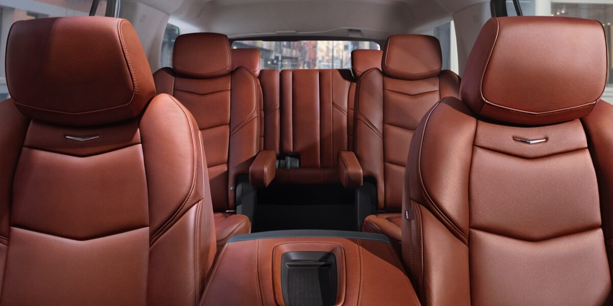 Interior of the 2019 Cadillac Escalade full-size luxury SUV.