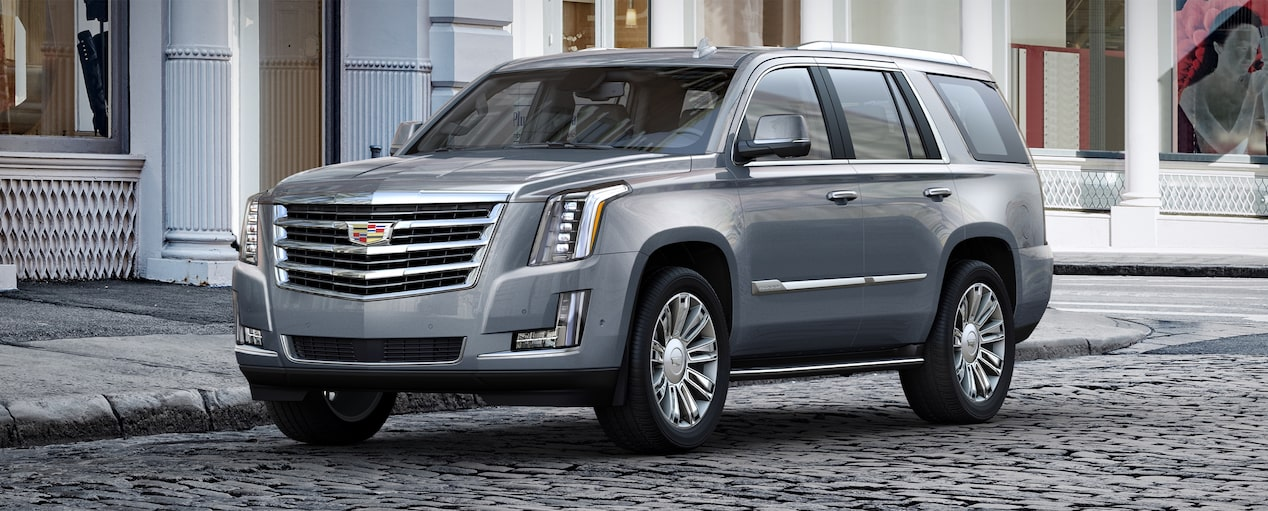 Exterior of the 2019 Cadillac Escalade full-size luxury SUV in Satin Steel Metallic.