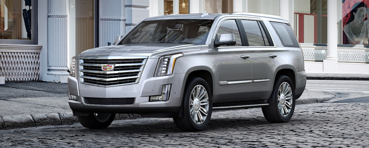 Exterior of the 2019 Cadillac Escalade full-size luxury SUV in Radiant Silver Metallic.