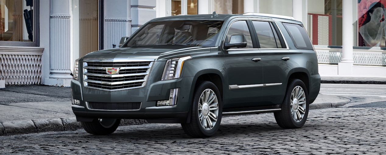 Exterior of the 2019 Cadillac Escalade full-size luxury SUV in Shadow Metallic.