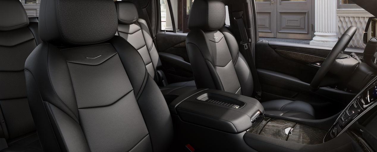 Front passenger seat feature of the 2019 Cadillac Escalade SUV in Jet Black with Jet Black Accents.