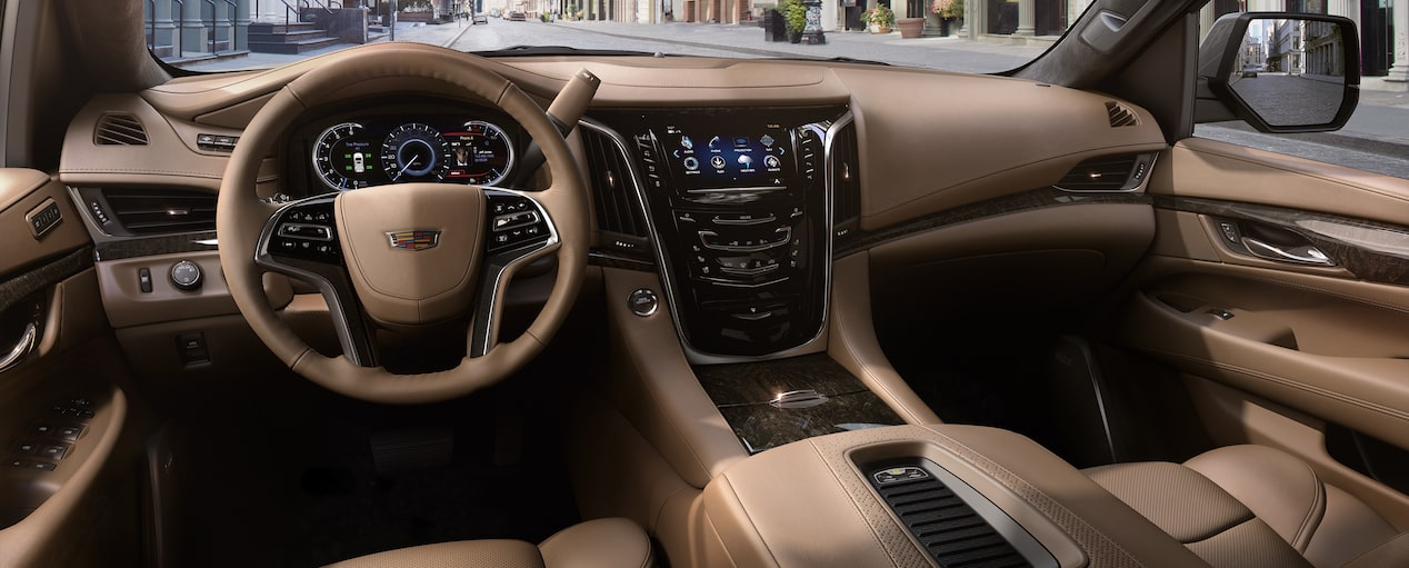 Front passenger seat feature of the 2019 Cadillac Escalade SUV in Maple Sugar with Black Accents.