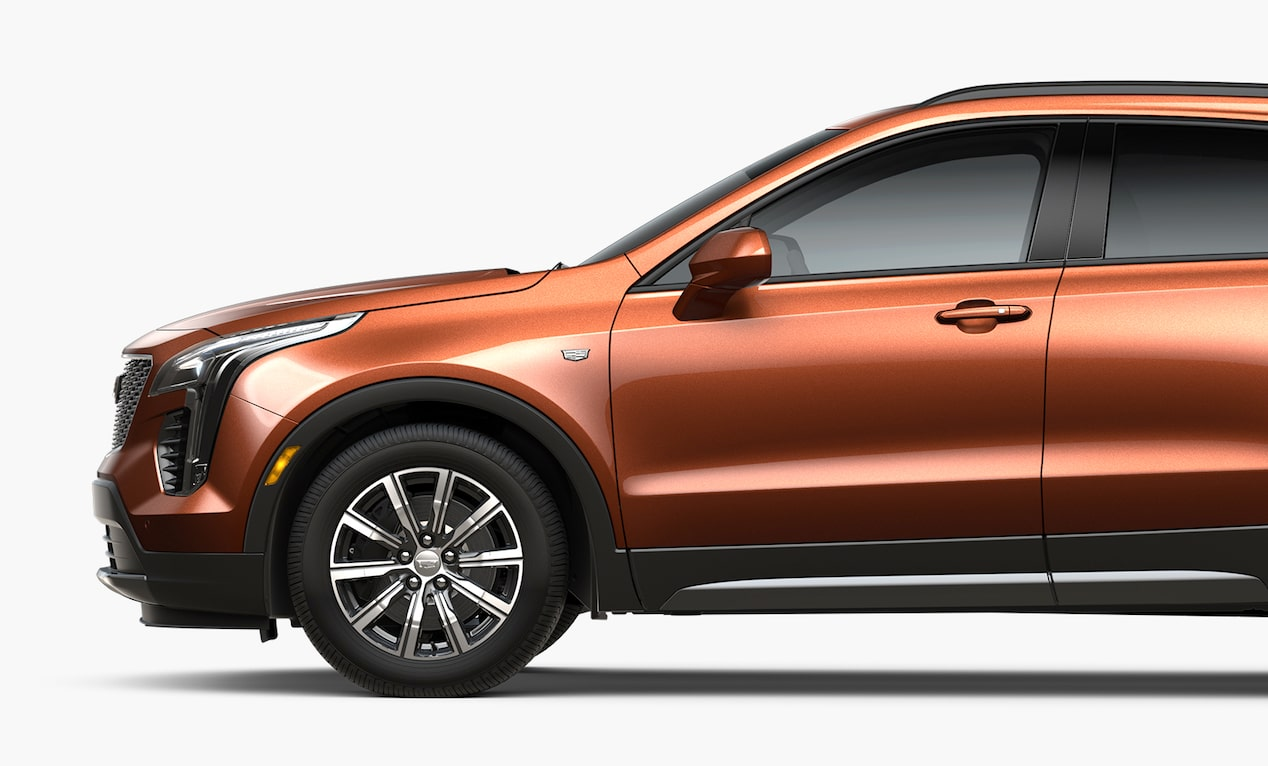 The exterior side view of 2019 Cadillac XT4 luxury crossover.