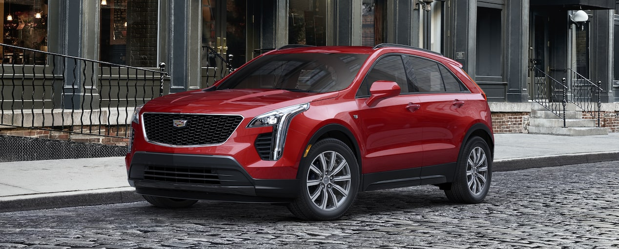 Exterior of the 2019 Cadillac XT4 in Red Horizon Tintcoat.