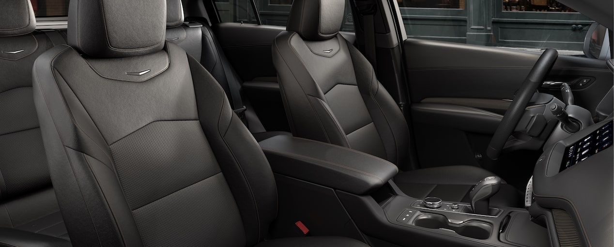 The purposely crafted front passenger seats inside the 2019 XT4 in Jet Black with Cinnamon Accents.