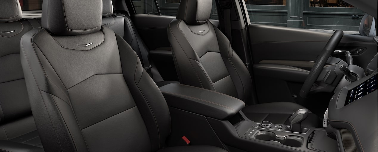The purposely crafted front passenger seats inside the 2019 XT4 in Jet Black Leatherette with Cinnamon Accents.