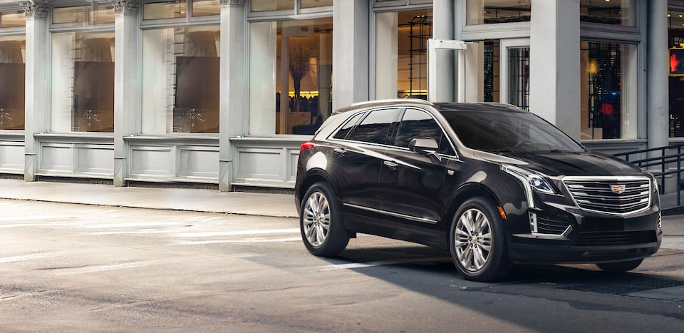 Exterior of the Cadillac XT5 luxury crossover with signature grille and crest.