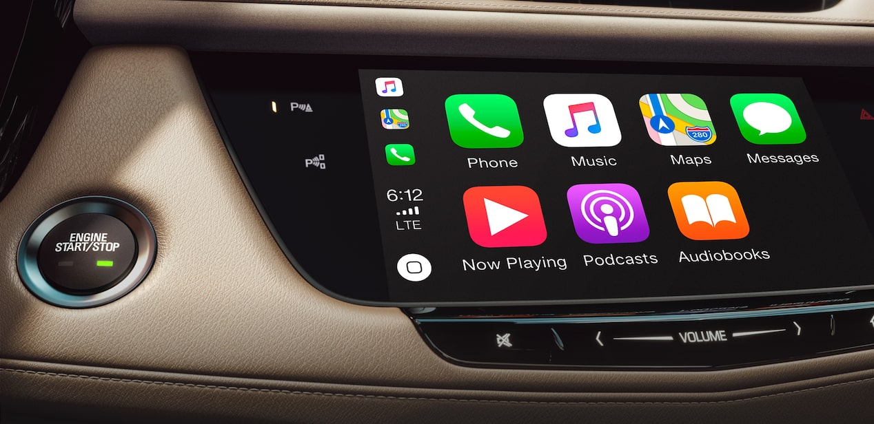 The Cadillac XT5 with phone integration with Apple CarPlay and Android Auto compatibility.
