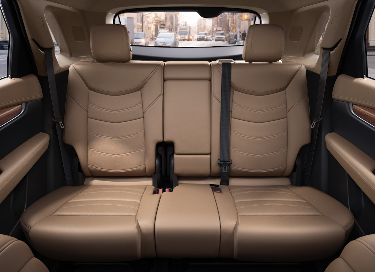 Rear seating in the Cadillac XT5 luxury crossover.
