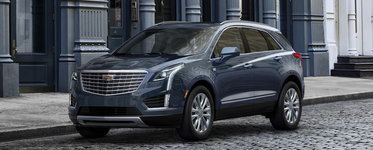 Exterior of the 2019 Cadillac XT5 luxury crossover in Harbor Blue Metallic.