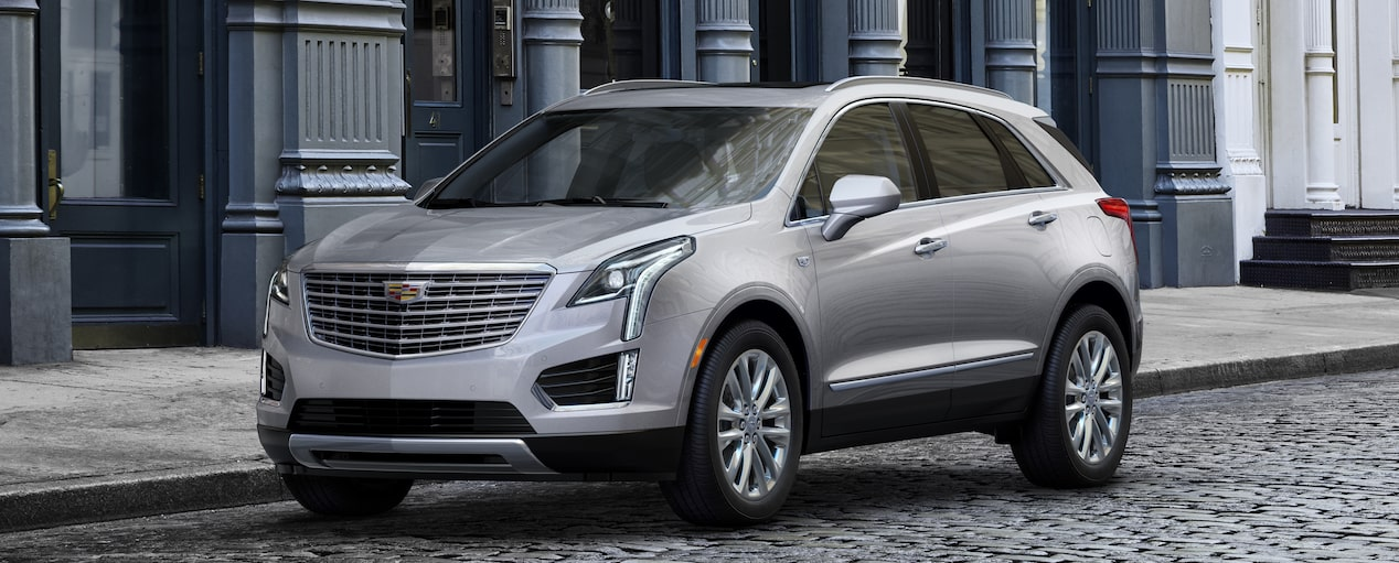 Exterior of the 2019 Cadillac XT5 luxury crossover in Radiant Silver Metallic.