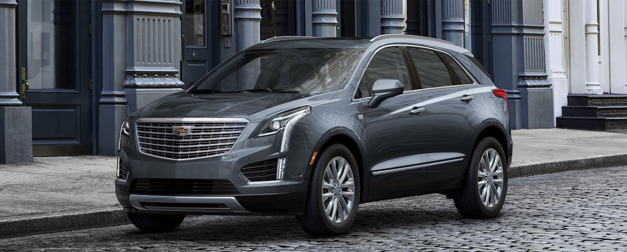 Exterior of the 2019 Cadillac XT5 luxury crossover in Shadow Metallic.