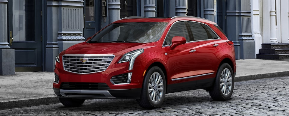 Exterior of the 2019 Cadillac XT5 luxury crossover in Red Horizon Tintcoat.