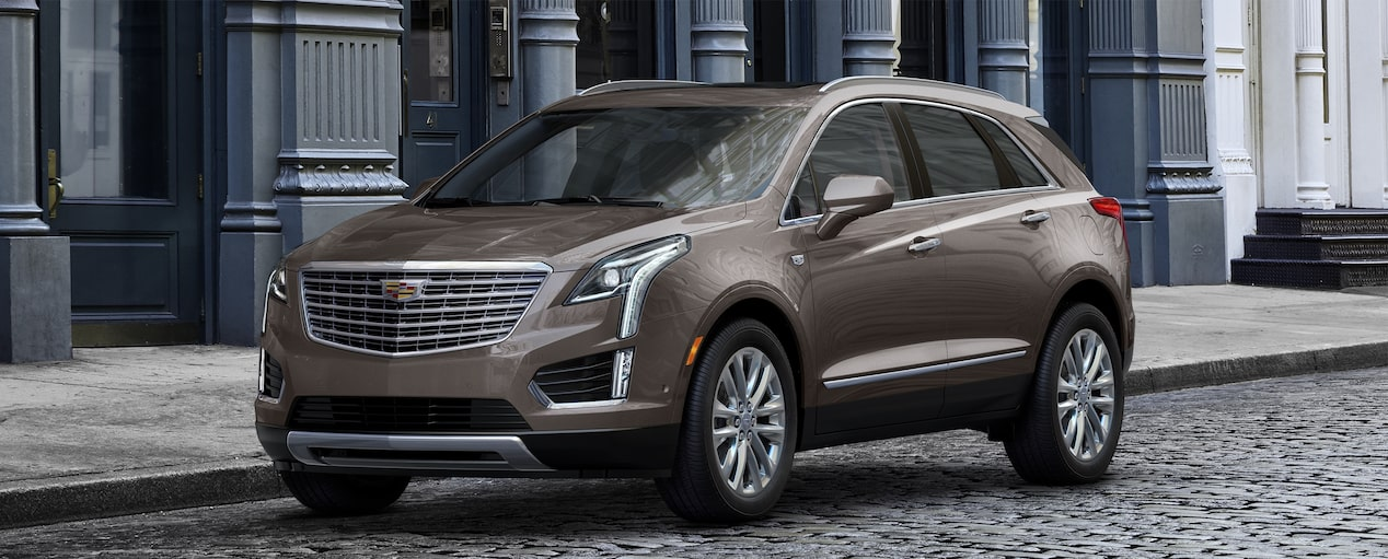 Exterior of the 2019 Cadillac XT5 luxury crossover in Dark Mocha Metallic.