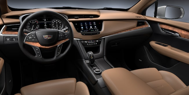 Cadillac XT5 Crossover Tan Interior From Back Seat.