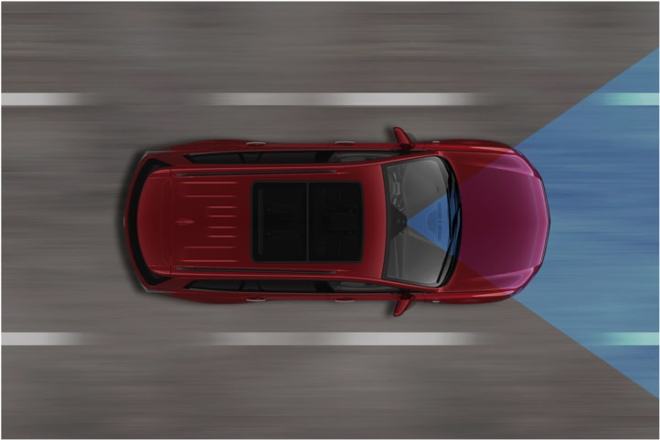 Diagram Of The Forward Collision Safety Feature Diagram Available In The 2020 XT6 7 Passenger Luxury SUV.