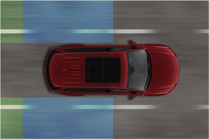 Diagram Of The Lane Change Safety Feature Available In The 2020 XT6 7 Passenger Luxury SUV.