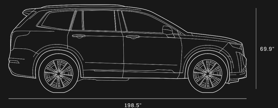Line Drawing Of The 2020 Cadillac XT6 7 Passenger Luxury SUV.