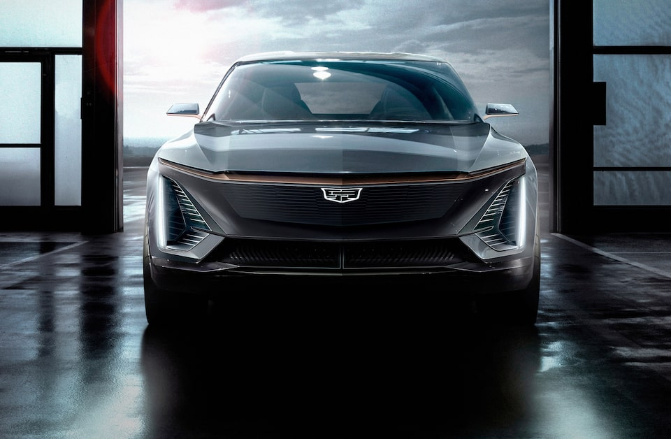 The First-Ever Cadillac EV front grille.