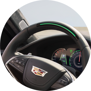 Cadillac Super Cruise Step One: Press the Super Cruise button on the steering wheel to engage Super Cruise.