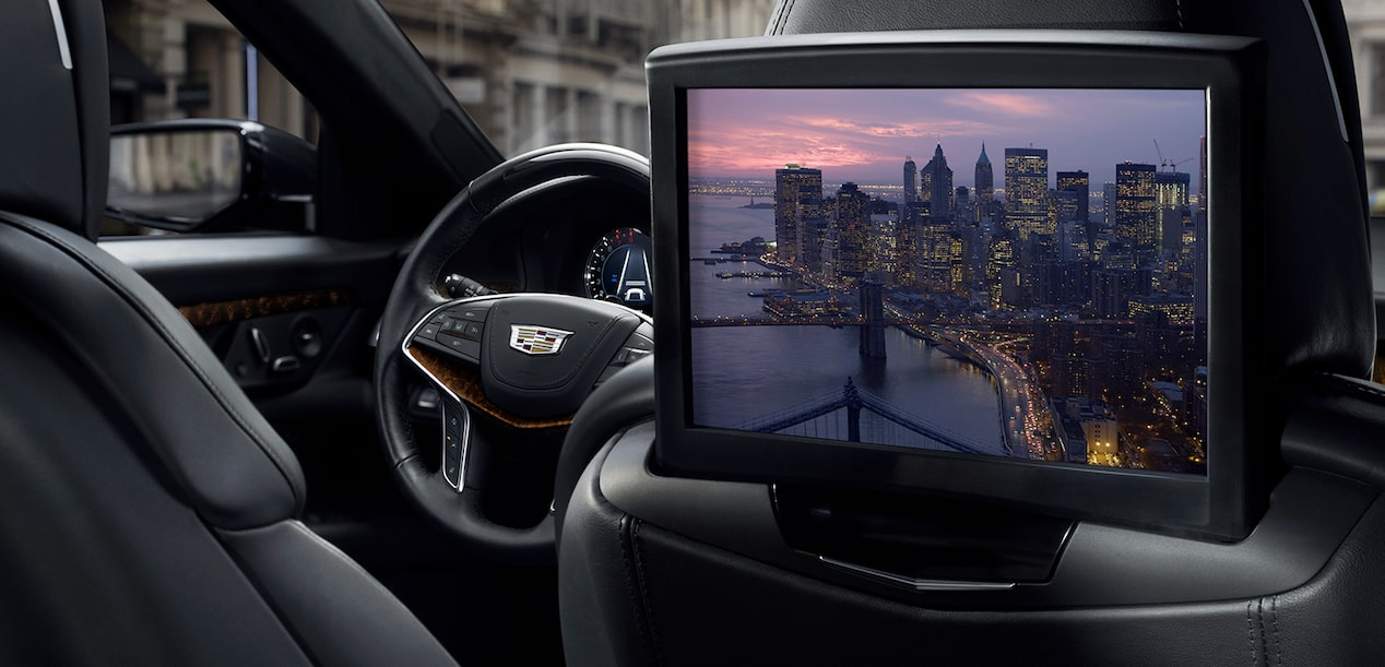 The Rear Seat Infotainment retractable 10-inch HD screen available in the Cadillac CT6 full-size luxury sedan.