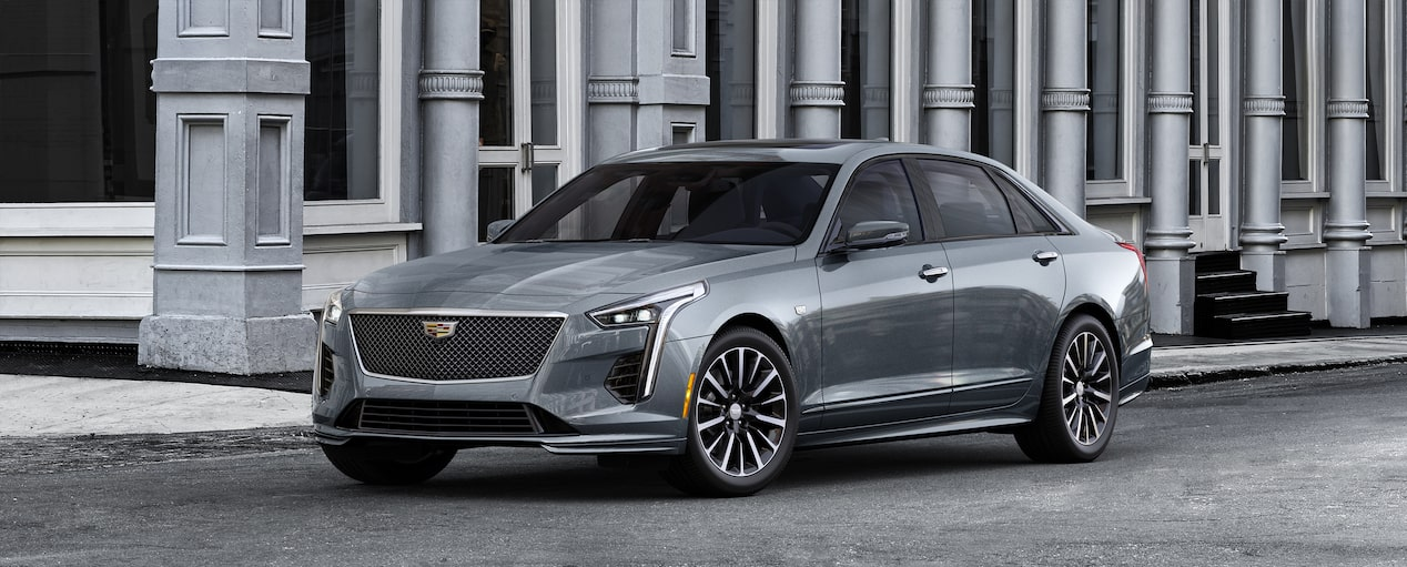 Exterior of the 2019 Cadillac CT6 Sedan in Satin Steel Metallic.