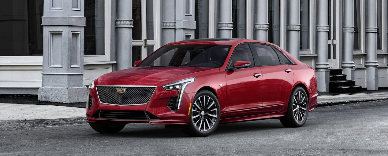 Exterior of the 2019 Cadillac CT6 Sedan in Red Horizon Tintcoat.