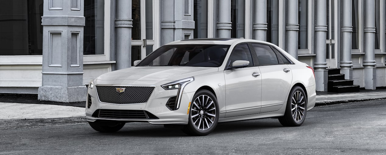 Exterior of the 2019 Cadillac CT6 Sedan in Crystal White Tricoat.