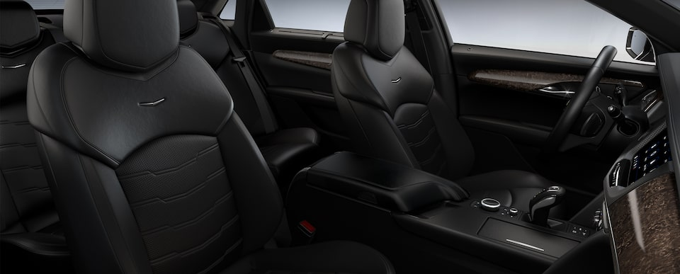 Interior of the 2019 Cadillac CT6 sedan in Jet Black with Chevron Perforated Inserts.