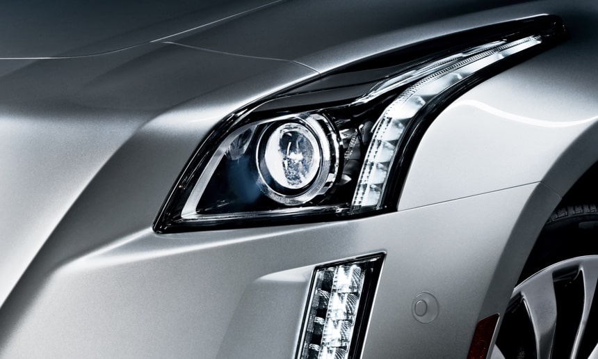 Cadillac CTS front exterior: crystalline LED signature lights.