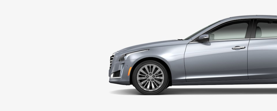 Exterior side profile of the 2019 Cadillac CTS mid-size luxury sedan.