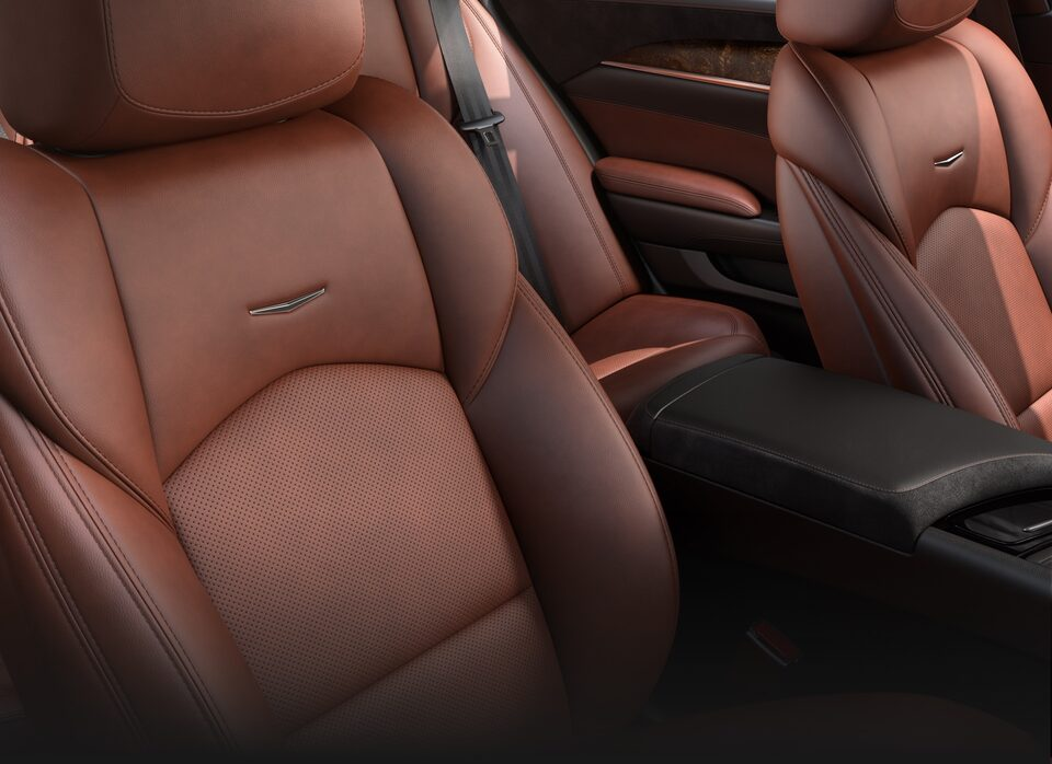 Cadillac CTS interior: natural Elm Wood and Kona Brown Semi-Aniline leather.