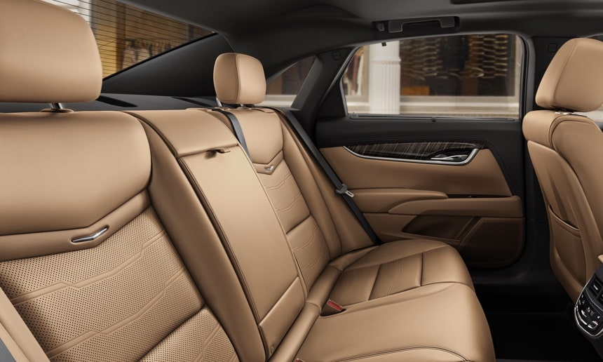 Cadillac XTS Platinum interior: Semi-Aniline full leather wraps the front 22-way adjustable massage seats.