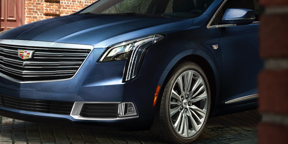 Front view of 2019 Cadillac XTS full-size luxury sedan.