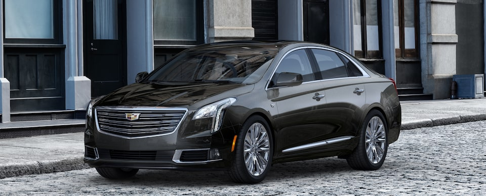 Exterior of the 2019 Cadillac XTS in Stellar Black Metallic.