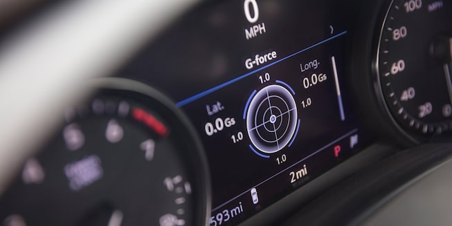 Close-up view of the CT4 speedometer.