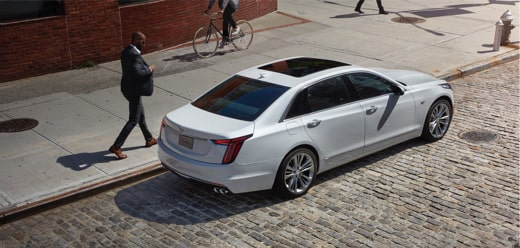 2020 CT6 Full-Size Luxury Sedan Rear Passenger Aerial View.