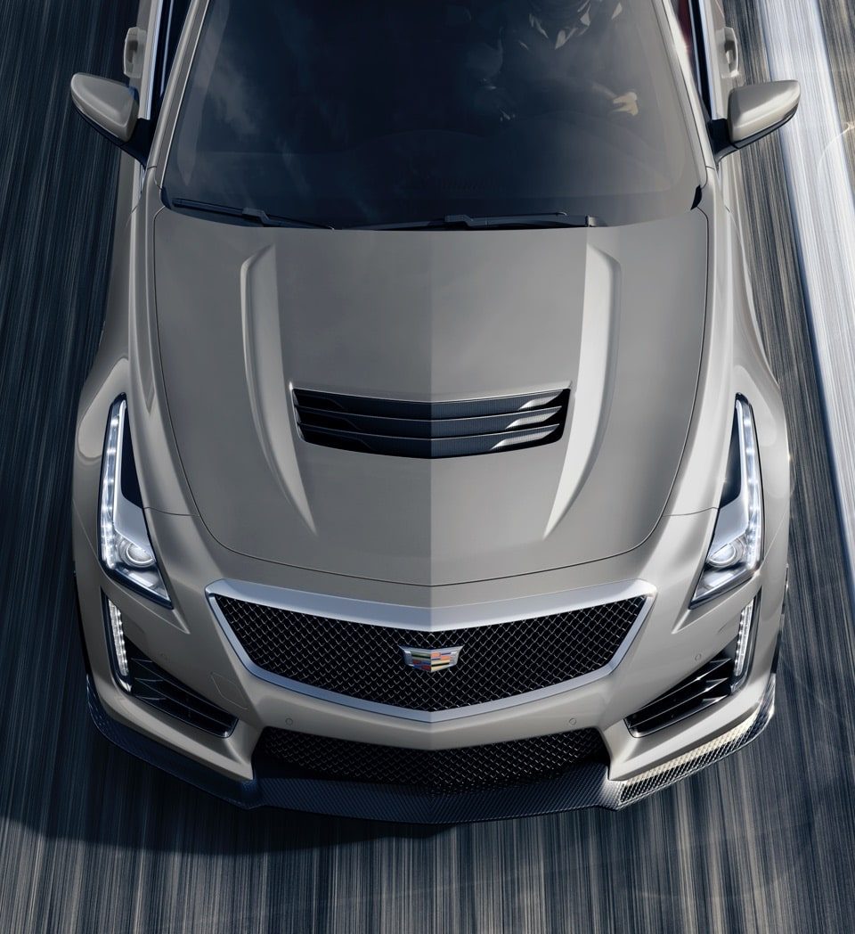 2019 Cadillac CTS-V track capable: grille and vents with large fascia openings.
