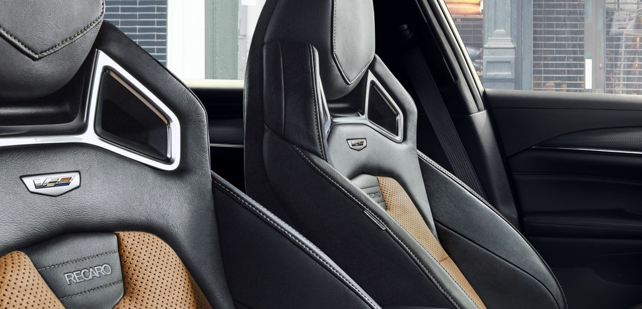 Interior seats of the 2019 Cadillac CTS-V mid-size sport sedan in Jet Black with Saffron Accents.