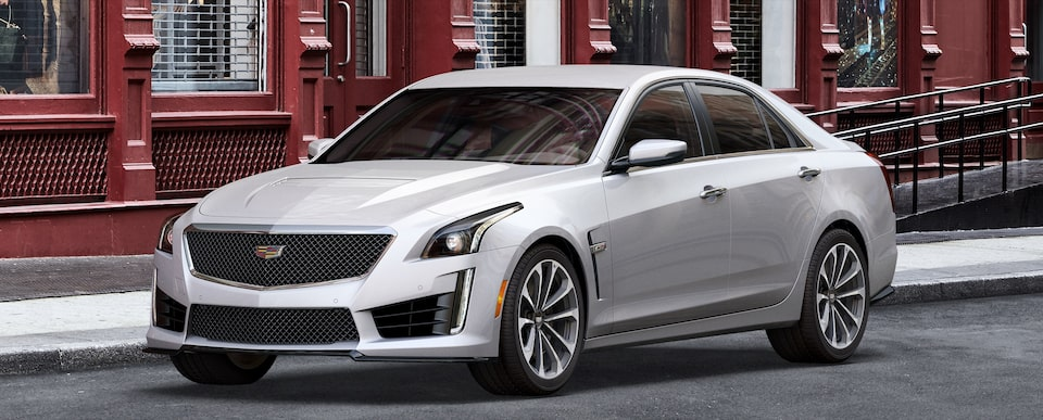 Exterior of the 2019 Cadillac CTS-V mid-size sport sedan in Crystal White Tricoat.