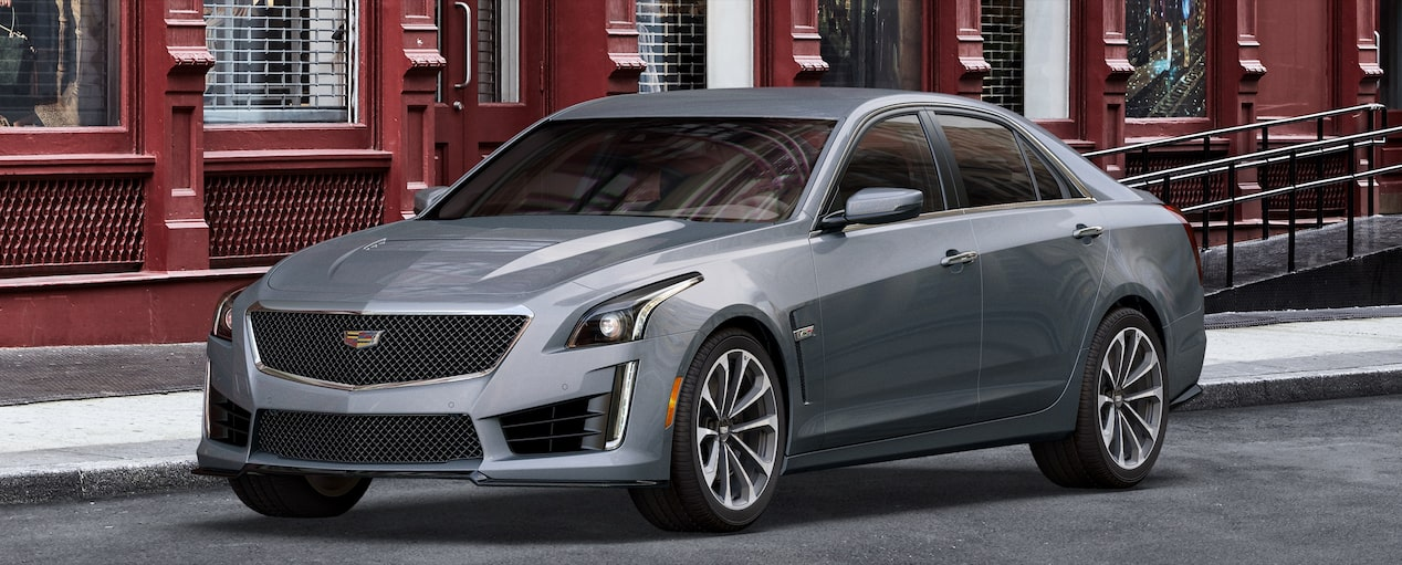 Exterior of the 2019 Cadillac CTS-V mid-size sport sedan in Satin Steel Metallic.