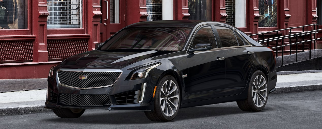 Exterior of the 2019 Cadillac CTS-V mid-size sport sedan in Black Raven.