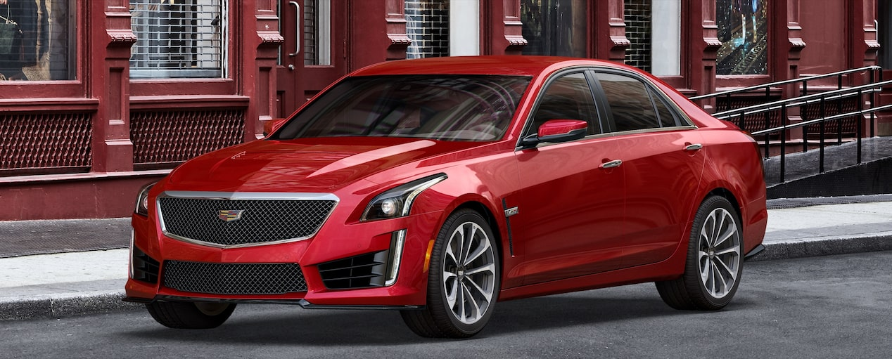 Exterior of the 2019 Cadillac CTS-V mid-size sport sedan in Red Obsession Tintcoat.
