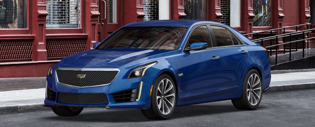 Exterior of the 2019 Cadillac CTS-V mid-size sport sedan in Wave Metallic.