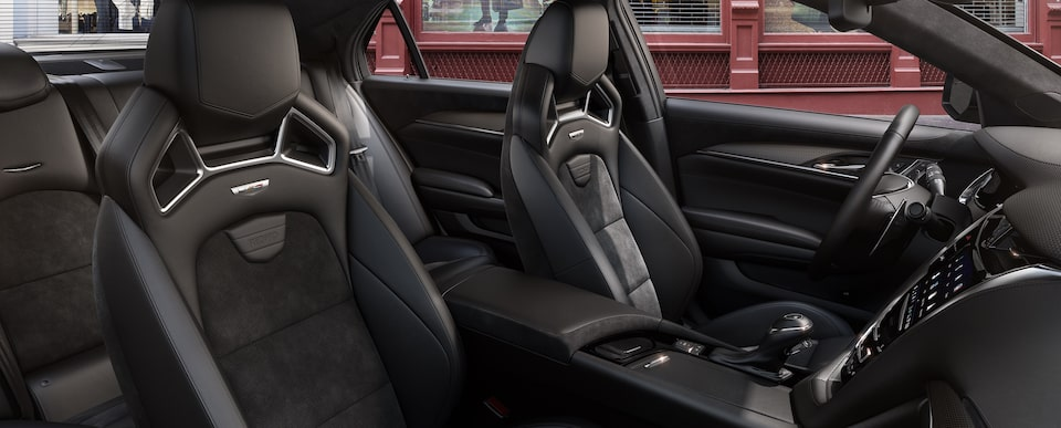 Interior seats of the 2019 Cadillac CTS-V mid-size sport sedan in Recardo Jet Black with Jet Black Accents.