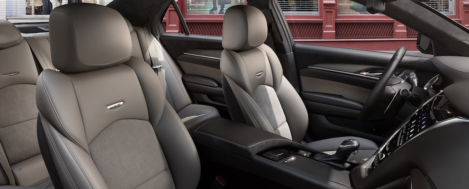 Interior seats of the 2019 Cadillac CTS-V mid-size sport sedan in Light Platinum with Jet Black Accents.