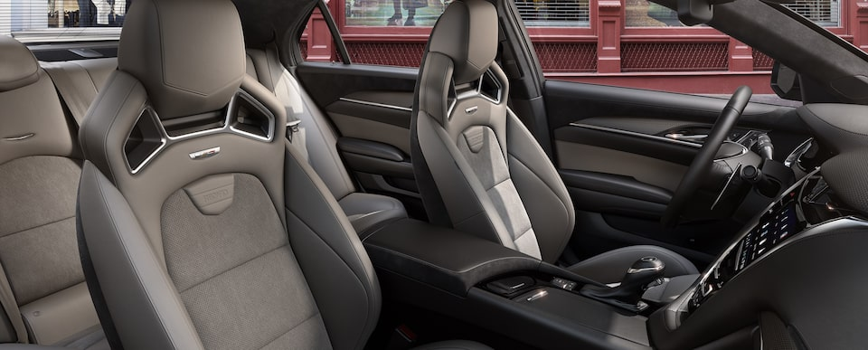 Interior seats of the 2019 Cadillac CTS-V mid-size sport sedan in Recardo Light Platinum with Jet Black Accents.