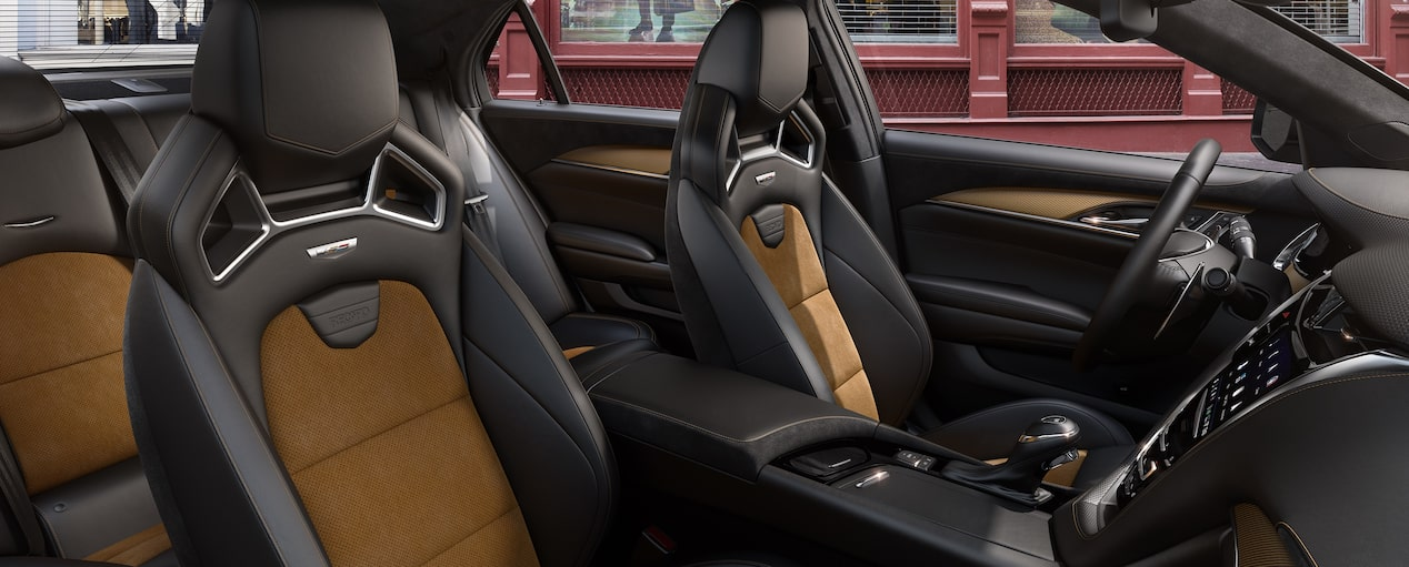Interior seats of the 2019 Cadillac CTS-V mid-size sport sedan in Recardo Jet Black with Saffron Accents.