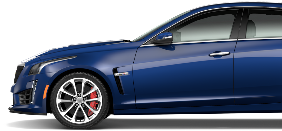 Side exterior profile of the 2019 CTS-V mid-size sport sedan.